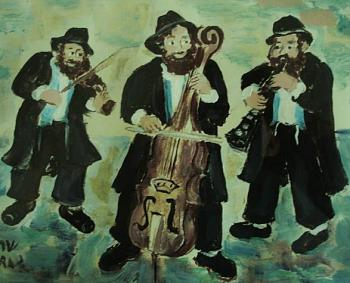 "And, let's not forget the beautiful music of the ""accordian"" and ""concertina""-traditional-klezmer-band-original-gouache-sarah-hagay-copy.jpg"