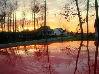 Sunset and sunrise photography-sunset-reflecting-hood-my-truck-5-.jpg