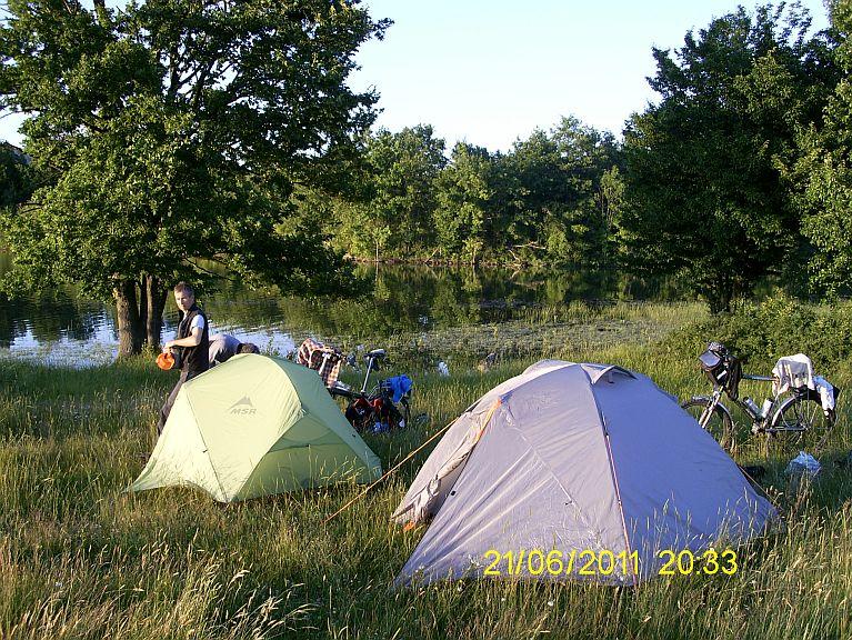 a camp place near dam lake