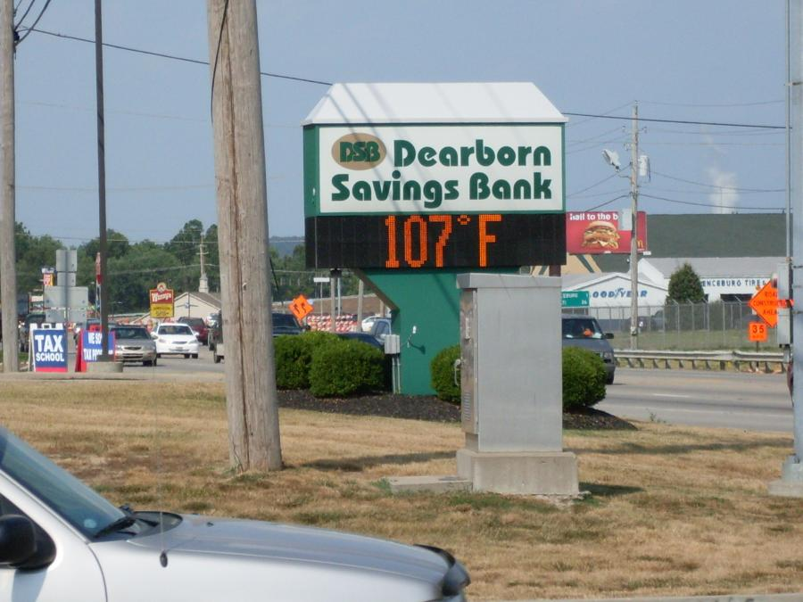 Lawrenceburg--Dearborn Savings sign--destroyed