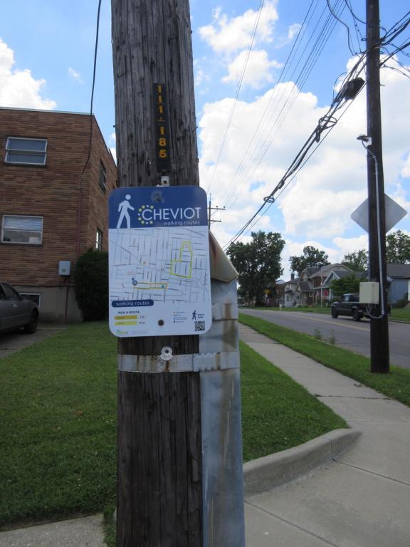 Cheviot-walking tour sign