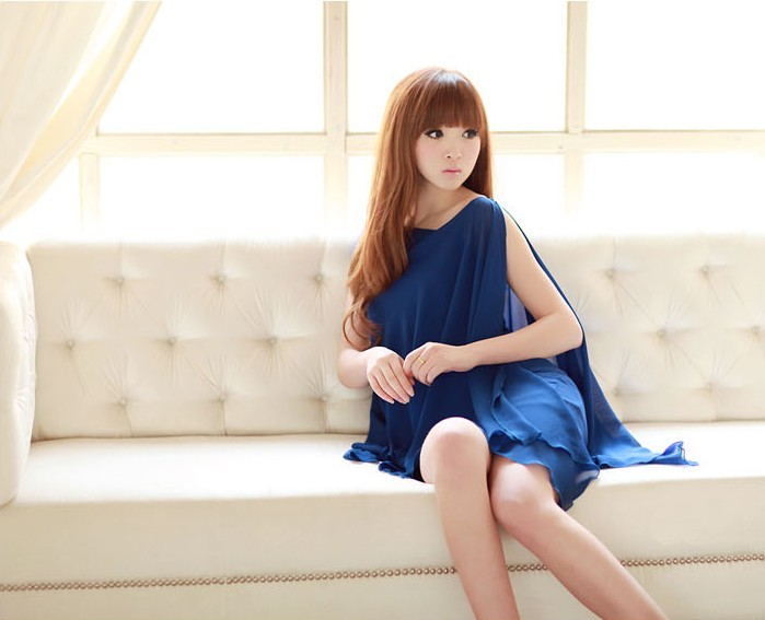 Western Style Irregular Off Shoulder Chiffon Dress--wy8187